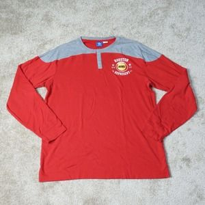 Houston Rockets Adidas Shirt Adult XL Extra Large Red Mens Long Sleeve Button